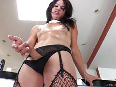 So horny that cum drips from her cock
