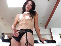 cumshot, ass fingering, oiled, solo shemale, brunette tranny, fishnet stockings, shemale idol, evil angel, gina hart