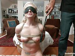 torture, whipping, blowjob, blindfolded, blonde babe, ass whipping, rope bondage, sex and submission, kink, bailey blue, steven st. croix