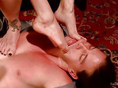 blonde, threesome, footjob, redhead, babes, cowgirl, mouth fingering, feet fetish, foot worship, kink, bella rossi, mona wales, kip johnson