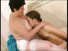Big nurse with giant tits gets lucky