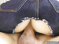 Hairy pussy asian babe riding cock like mad