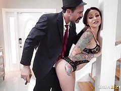 milf, blowjob, busty, tattooed, from behind, husband watching, standing sex, real wife stories, brazzers, monique alexander, charles dera