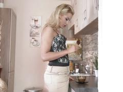 Blonde house wife masturbates instead of having a coffee in