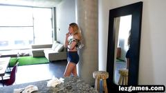 Two gorgeous lesbians harley and lyra are having fun in the aparatment