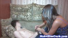 Pretty teen rides cock while her bf watches