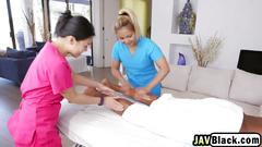 Asian masseuses enjoy sharing long black dong