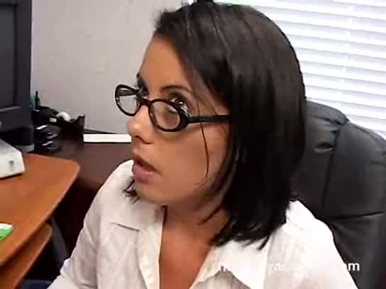 cumshot, brunette, desk, glasses, dirty, pussyfucking, office, chair