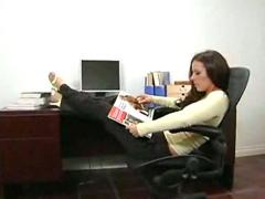Penny flame and friend in office threesome
