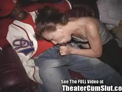 Hubby cheers on wife in xxx theater orgy