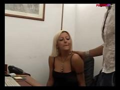 Italian blonde secretary masturbating in the office - italian porn