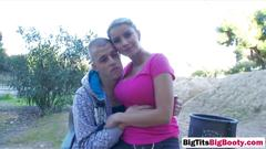 Busty blonde hottie gives titjob and blowjob