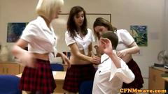 Euro cfnm school girls toying with a small dick