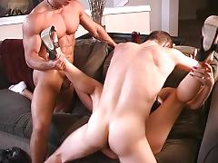 Muscle god and sufer boy share chick