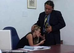 Blonde secretary in lingerie receives a nice facial