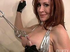 fetish, nipple clamps, muscle, redhead, gym, firness