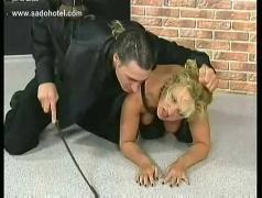 Blond milf slave licks of her own juice from a dildo and got pulled on her hair by her master