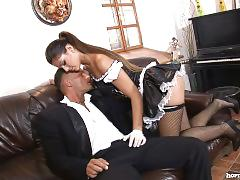 Sexy maid licks pussy then sucks cock hd
