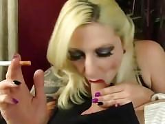 Fugly tatooed blonde smoking bj (rare)