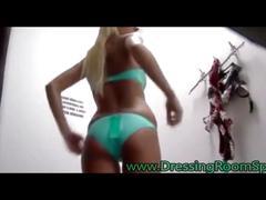 Skinny blonde caught naked on hidden cam