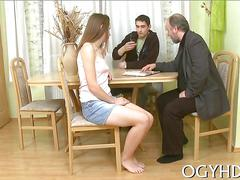 Old rich man has his way with a lusty schoolgirl