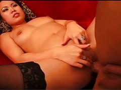 Pierced clit and nipples asian slut in stockings fucked hard