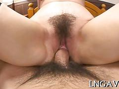 Japanese milf gets pussy fucked in a hotel room in pov