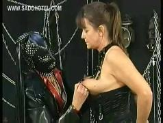 Slave with nice tits jerksoff dirty slave and got pulled on her nipples by masked dominatrix