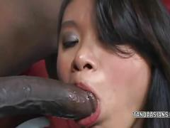 asian, big dick, big tits, blowjob, brunette, cumshot, interracial, milf,