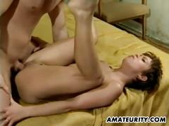 Lovely amateur milf gets her wet pussy fucked hard
