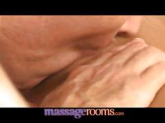 Massage rooms tanned beauty spreads wet pussy in...