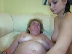 Oldnanny nice threesome, old lady and young couple have sex