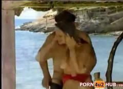 German slut get fucked on the beach