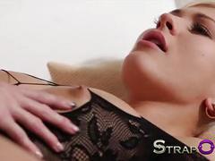 Strapon amazing blonde babe fucks her gf with vibrating strapon