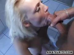 Amateur girlfriend cum in mouth in her kitchen