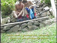 Gay lovers fuck in the jungle