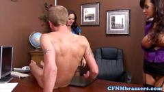 Big tit cfnm secretaries fucking for a raise