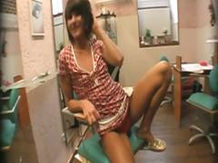 Brunette slut scrogged in the salon