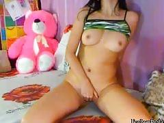 Cute brunette fingers her holes with both hands2.wmv