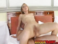 Flat chested shemale sabrina sherman gets ass drilled