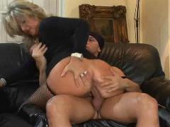 Blonde milf in fishnet stockings fucks