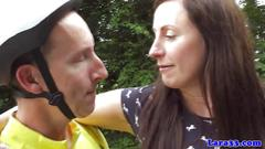 Brit mature in nylon sucks cyclist dick