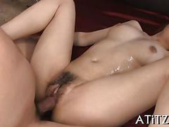 Japanese chick with hairy pussy gets fucked by gifted dude