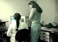 Lesbian girlfriends get freaky in a public workplace