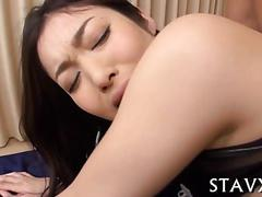 Hairy japanese chick finger banged in a threesome and fucked