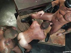 gays, hunks, hairy body, threesome, blowjob, muscular, from behind, anal sex, tattooed, raging stallion, fernando del rio, michael roman, daymin voss