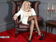 Posh milf leggy lana teases in sheer nylons then fucks pussy with glass toy