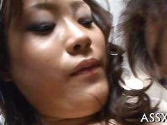 Hairy japanese chick gets fucked in a hot uncensored threesome