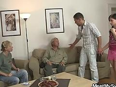 Her bf steps out of the room and she fucks his parents