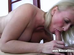 Blonde mature gets pounded hard by a young stud